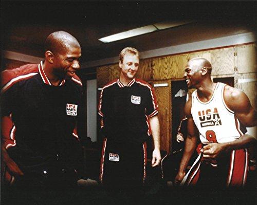 New Basketball Dream Team: Magic Johnson, Larry Bird, Michael Jordan - 20x24 Photo, Mounted in 22...
