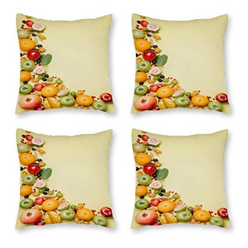 DKE&YMQ Funda de almohada de lona 4, productos alimenticios de frutas Serveware Natural Foods Dishware Grupo Fotografía Bodegón