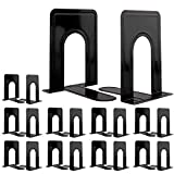 Jekkis 20pcs Metal Bookends, Heavy Duty Book Ends, 6.6 x 5.7 x 4.9 Inches Black Bookend Supports, Nonskid Bookends for Shelves, Office and Home