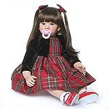 TERABITHIA 24inch Big Size 60cm Reborn Toddler Princess Doll Lifelike Handmade Long Hair Silicone Vinyl Newborn Girl Doll Child Xmas Birthday Gift