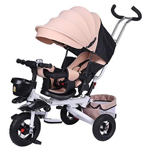L-SLWI Kinderdreirad Faltung Kann 1-3-6 Jahre Alt Kinderfahrrad Sportkinderwagen Baby Fahrrad Liegen,Weiß