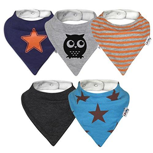 Lovjoy Bandana Baby Halstuch Lätzchen, Dreieckstucher, Für 0-3 Jahre, 5er Pack (Städtisch Stern)
