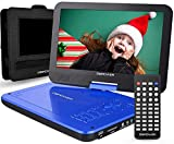 DBPOWER 12' Portable DVD Player with 5-Hour Rechargeable Battery, 10' Swivel Display Screen, SD / USB Port, with 1.8 Meter Car Charger, Power Adaptor and Car Headrest Mount, Region Free- Blue