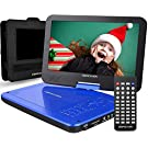 """DBPOWER 12"""" Portable DVD Player with 5-Hour Rechargeable Battery, 10"""" Swivel Display Screen, SD / USB Port, with 1.8 Meter Car Charger, Power Adaptor and Car Headrest Mount, Region Free- Blue"""