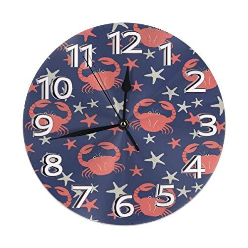 Reloj de pared silencioso con diseño de cangrejo y estrella de mar, para decoración de interiores