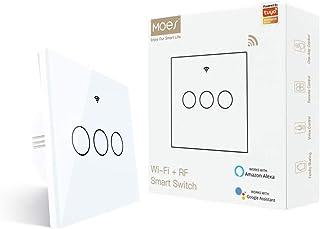 MOES interruttore smart WiFi RF433 touch da parete, non richiede neutro, 4 via interruttore intelligente compatibile con S...