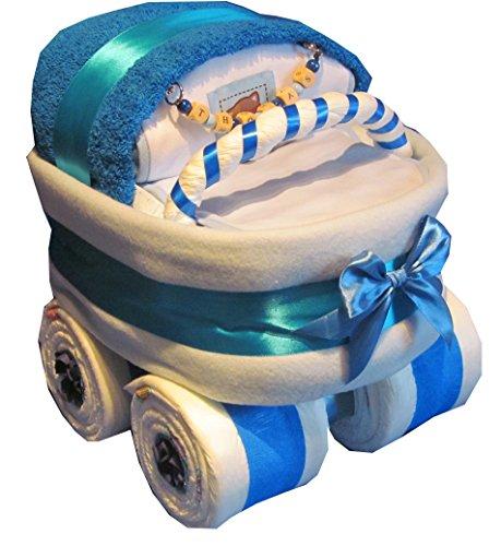 Luiertaart - kinderwagen met naamhanger blauw