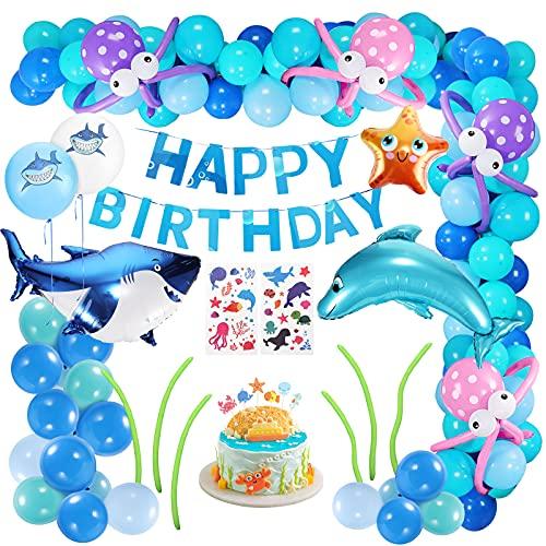 XDDIAS Festa Decorazione Palloncini, 101 Pezzi Palloncini Addobbi per Feste di Compleanno con Banner, Kit di Forniture per Feste marini Tema per Bambini Ragazzo