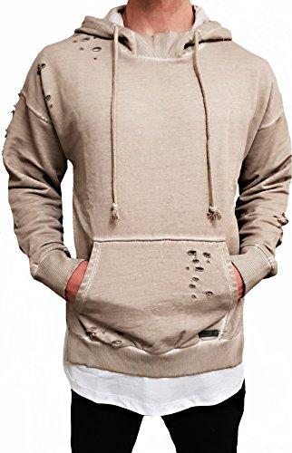 Oversize Hoodie Designer Sweat Jacke Cardigan Hoody Pullover Shirt Herren Camouflage Longsleeve m NEU Kapuzen-Pullover Long Sweatjacke hip hop Sweatshirt Pulli Longshirt Body deep Neck (L, Beige)