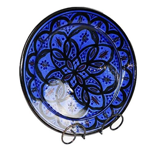 Orientalischer Keramik Teller handbemalt marokkanische Keramikschüssel Wandteller mittel Color Blau