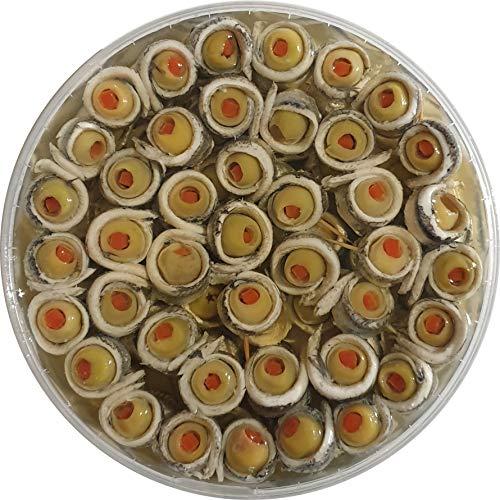 Food-United Sardellen-Spießchen-Filets aufgewickelt gerollt mit Oliven Happen 2 Röllchen pro Spieß 600g handgewickelt Premium Qualität Oliven gefüllt mit Paprika Fisch