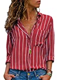 MISSLOOK Women's Stripes Button Down Shirts Roll-up Sleeve Tops V Neck Casual Work Blouses - Red M