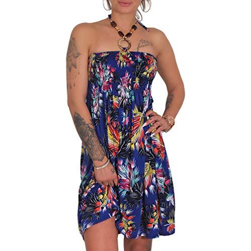 Neckholder Sommer Bandeau Kleid Holz-Perlen Damen Strandkleid Tuchkleid Tuch Aztec (1935-F Blau)