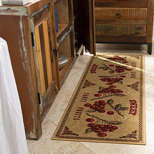 """Ottomanson Siesta Collection Kitchen Fruits Design (Non-Slip) Runner Rug, 20"""" x 59"""", Beige"""