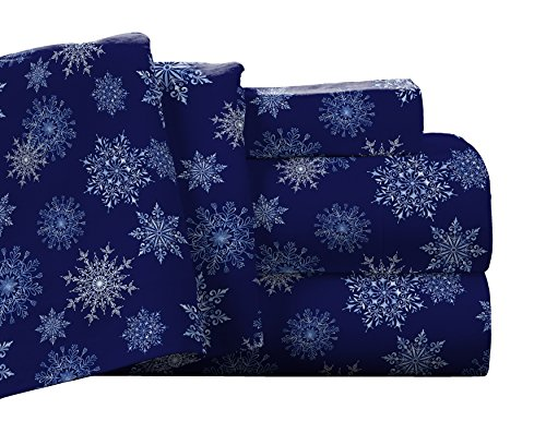 Pointehaven Flannel Deep Pocket Set with Oversized Flat Sheet, Twin X-Long, Snow Flakes Navy