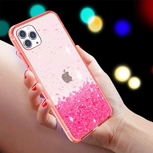Facweek - Carcasa para iPhone 11 Pro Max, con purpurina transparente y lentejuelas (parte trasera dura a prueba de golpes + parachoques de TPU suave), funda delgada de silicona epoxi para Apple iPhone 11 Pro Max de 6,5 pulgadas, color rosa