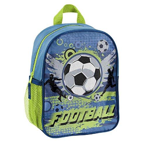 Fussball Soccer Kindergartenrucksack Kinderrucksack für Jungen und Mädchen (303X) mit Hauptfach und Getränkenetz, 28x22x10 cm, blau/grün