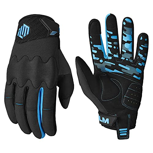 ILM Youth Kids Motorcycle Dirt Bike Motocross ATV MTB Mountain Bike Gloves Full Finger Summer Breathable Touch Screen Glove for Bicycle Cycling BMX Sports Outdoor (Blue Youth-XL)