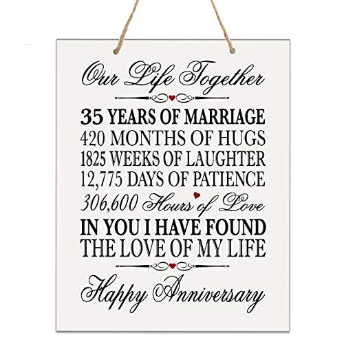 LifeSong Milestones 35th Anniversary Plaque 35 Years of Marriage - Thirty Five Year Wedding Keepsake Gift for Parents Husband Wife him her - Our Life Together (12 x 15 Rope Sign)
