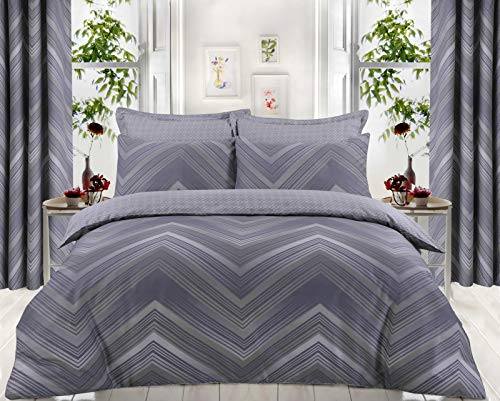 Every Thread Counts Posh Duvet Cover Set Egyptian Cotton Satin Reversible Hotel Quality (Chevron Grey, Double)