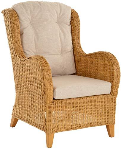 Krines Home Exklusiver Lesesessel Birmingham bequem Rattansessel Rattanmöbel Sessel aus Rattan Ohrensessel Honig