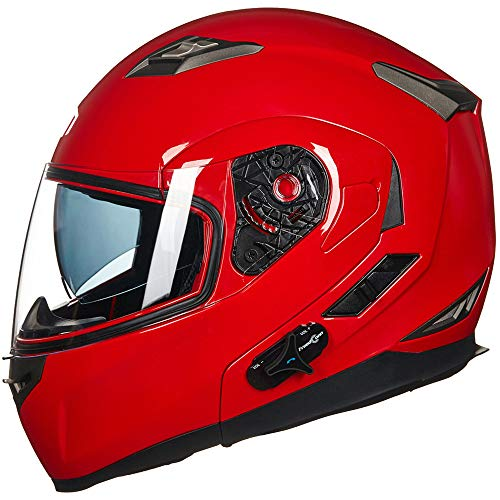 ILM Bluetooth Integrated Modular Flip up Full Face Motorcycle Helmet Sun Shield 6 Riders Group Intercom Mp3 (M, RED)