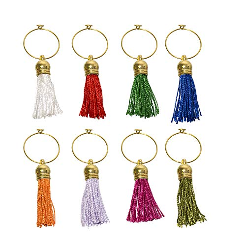 PrestigeHaus Tassel Wine Glass Charms - Graduation Inspired Set - Set of 8 Colorful Unique Tassels - Tags to Mark Your Drinks