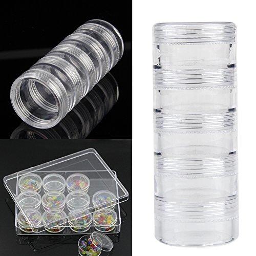 SKYVII Cinco botellas redondas de plástico de almacenamiento de cuentas de joyería cajas de embalaje herramientas nuevo