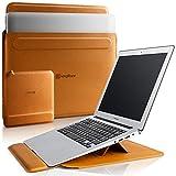 KingBlanc 3in1多機能 ノートパソコン ケース MacBook Air & Pro 13-13.3インチ 2020【リストレスト付き/角度調整可能】収納ポーチ付き 折りたたみ式 PC インナーバッグ ラップトップスリーブケース 高級PUレザー製 (ブラウン)