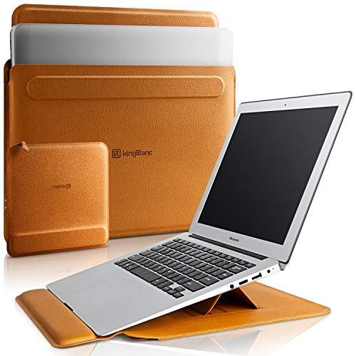 KingBlanc 3in1多機能 ノートパソコン ケース 旧型MacBook Air 2010-2017・MacBook Pro 13/13.3インチ 2012-2015【リストレスト付き/角度調整可能】収納ポーチ付き 折りたたみ式 PC インナーバッグ ラップトップスリーブケース 高級PUレザー製 (ブラウン)