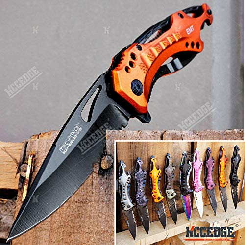 KCCEDGE BEST CUTLERY SOURCE Survival Kit Pocket Knife Camping Accessories Razor Sharp 5-in-1 Multi-Tool Knife Survival Folding Knife Camping Gear EDC 54436 (EMT Orange)