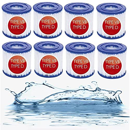 BOLAT Pool Filterpatrone Typ VII & D, für Bestway Poolpumpe für Intex Pool Pumpe Typ D Filter für Poolpumpe RP-350, RX-600,SFS-350, SFS-600 (8 Stück)