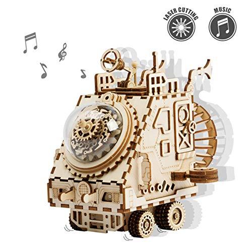 ROKR Montieren Ingenieurwesen Spielzeug DIY 3D Puzzles Holz Musikbox Raumfahrzeuge Modell Kits für Kinder 14 15 16 17 18 und up-Bestes Festival Geschenk für Erwachsene(Space Vehicle)