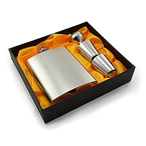 Flachmann aus Edelstahl mit 2 Schnaps-Bechern und Einfüll-Trichter im Set, in Geschenk-Box, mit Schraub-Verschluss-Deckel, Taschen-Flasche