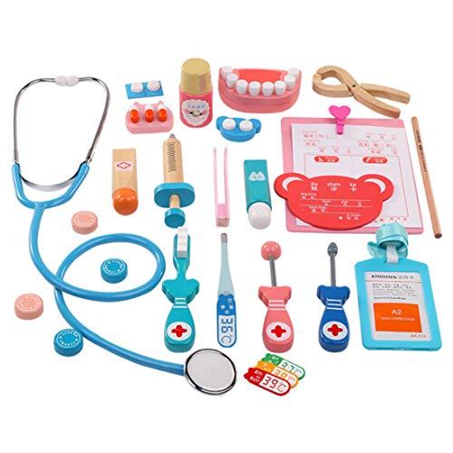 Foxom Arztkoffer Kinder Holz, 24 Stück Kinder Arztkoffer Holz Doktorkoffer Spielzeug Doktor Spielset Rollenspiel Lernspielzeug für Kinder ab 3 Jahre