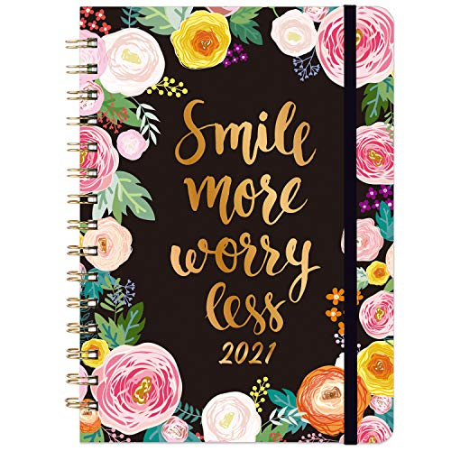 Diary 2021- Weekly & Monthly Diary, 21.5 x 15.5 cm, January 2021 - December 2021, Flexible Floral Hardcover with Strong Golden Binding, Elastic Closure, Coated Tabs, Inner Pocket