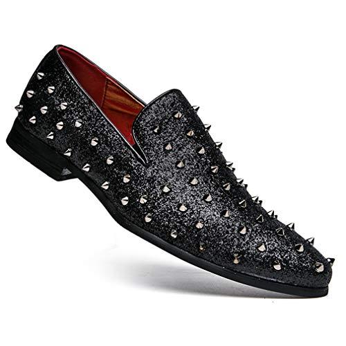 YAN Zapatos de Remache para Hombre, Zapatos de Cuero en Punta Mocasines y Zapatillas sin Cordones Calzados Informales Zapatillas de Moda para Clubes nocturnos Europeos Estilos de peluquería