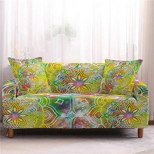 Cubierta Sofa con Cuerda De Fijación Fundas De Sofá De 1/2/3/4 Plazas para El Protector De Muebles De Sala De Estar Funda De Sofá De Silla Mandala-4-Seater_Color4