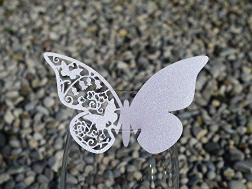 50pz farfalle Segnaposto Segnabicchiere VARI COLORI bomboniera matrimonio segnatavolo CARTA PERLATA (ARGENTO (GRIGIO 20%))