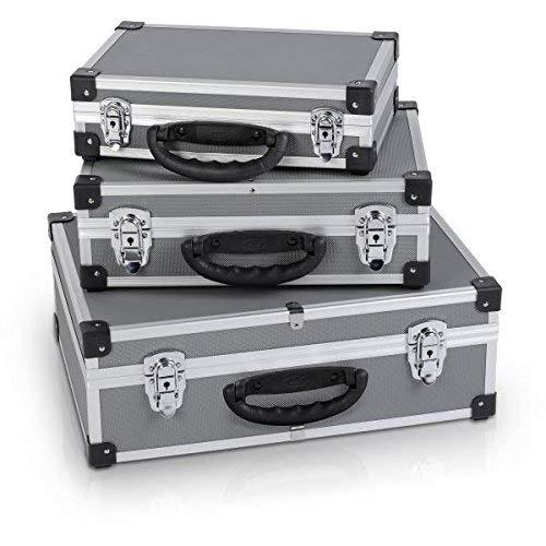 Varo y Kreator PRM10120 Set mit 3Werkzeugkoffern, Aluminium, jeweils 2Schlösser mit Schlüssel, silberfarben/Grau