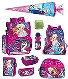 Familando Disney Eiskönigin Schulranzen Set 9-TLG. mit Federmappe, Sporttasche, Schultüte 85cm, Regenschutz Pink Frozen PL für Mädchen