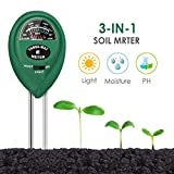 CharmUO Soil Moisture Meter, 3-in-1 Soil Moisture/Light/pH Tester Gardening Tool Kits, Soil pH Meter Test Kit for Garden, Lawn, Farm, Indoor & Outdoor Use