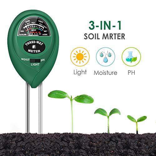 Soil PH Meter, 3-in-1 Soil Moisture/Light/pH Tester Gardening Tool Kits, Soil pH Meter Test Kit for Garden, Lawn, Farm, Indoor & Outdoor Use