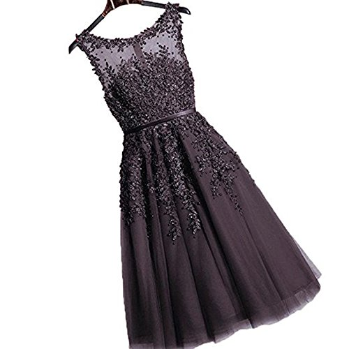 Damen Elegant Spitze Abschlussballkleid mit Perlen Homecoming kleid Knilang Schwarz 42