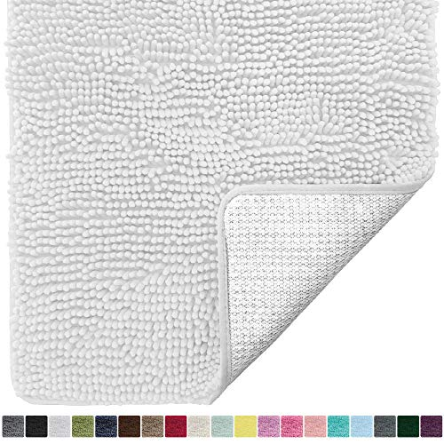Gorilla Grip Original Luxury Chenille Bathroom Rug Mat, 60x24, Extra Soft and Absorbent Shaggy Rugs, Machine Wash Dry, Perfect Plush Carpet Mats for Tub, Shower, and Bath Room, White