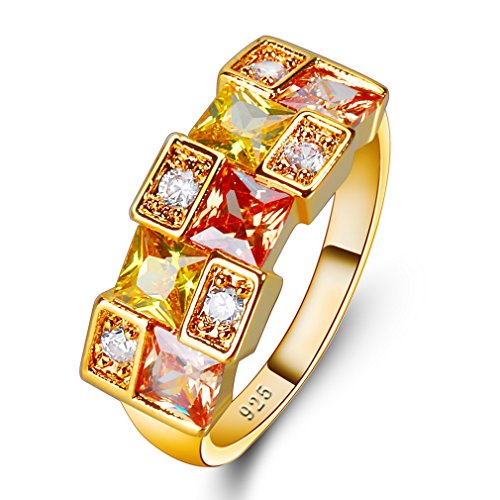 Yazilind Champagner gelb Zirkonia Ringe eingelegten Strass vergoldet Hochzeit Schmuck für Damen Größe 18.8