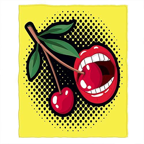 Bloong Cherry Decken 101,6 x 127,7 cm rot sexy Lippen Mund essen Obst schwarz gepunktet Überwurf Decke flauschig Flanell Picknickdecke Zuhause für Sofa Haustier Hund Katze
