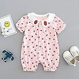 Wbmmctt Mono para Bebés Recién Nacidos con Ropa Infantil. 73Cm Solapa De Viento Dulce Pequeña Fresa Rosa.
