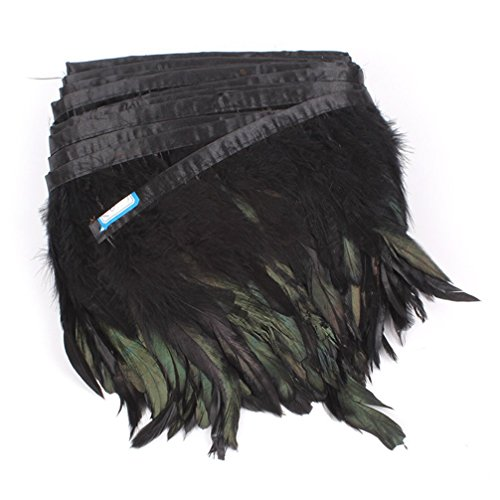 AWAYTR Rooster Feather Trim Width 5-7 inches Craft Feather Fringe Trim Pack of 5 Yards (Black)