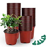 GROWNEER 120 Packs 4 Inches Plastic Plant Nursery Pots with 50 Pcs Plant Labels, Seed Starting Pot Flower Plant Container for Succulents, Seedlings, Cuttings, Transplanting